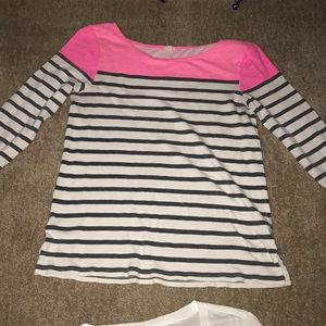 Hot pink and black striped three-quarter sleeves